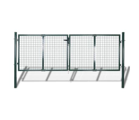 vidaXL Portail de clôture Acier 306x175 cm Vert
