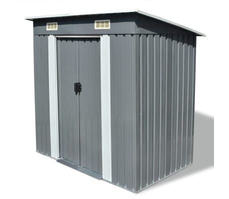 vidaXL Garden Shed Grey Metal