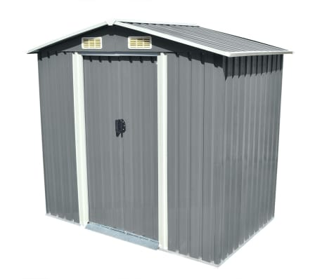 vidaXL Garden Storage Shed Grey Metal 204x132x186 cm