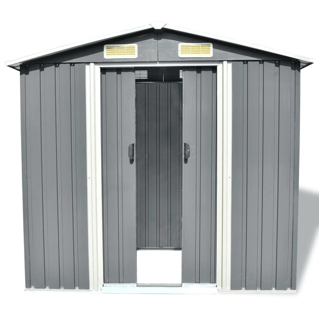 vidaXL Tuinhuis 204x132x186 cm grijs metaal