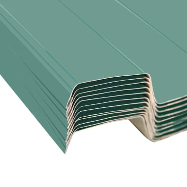 vidaXL Takpanel 12 st galvaniserat stål grön[4/4]