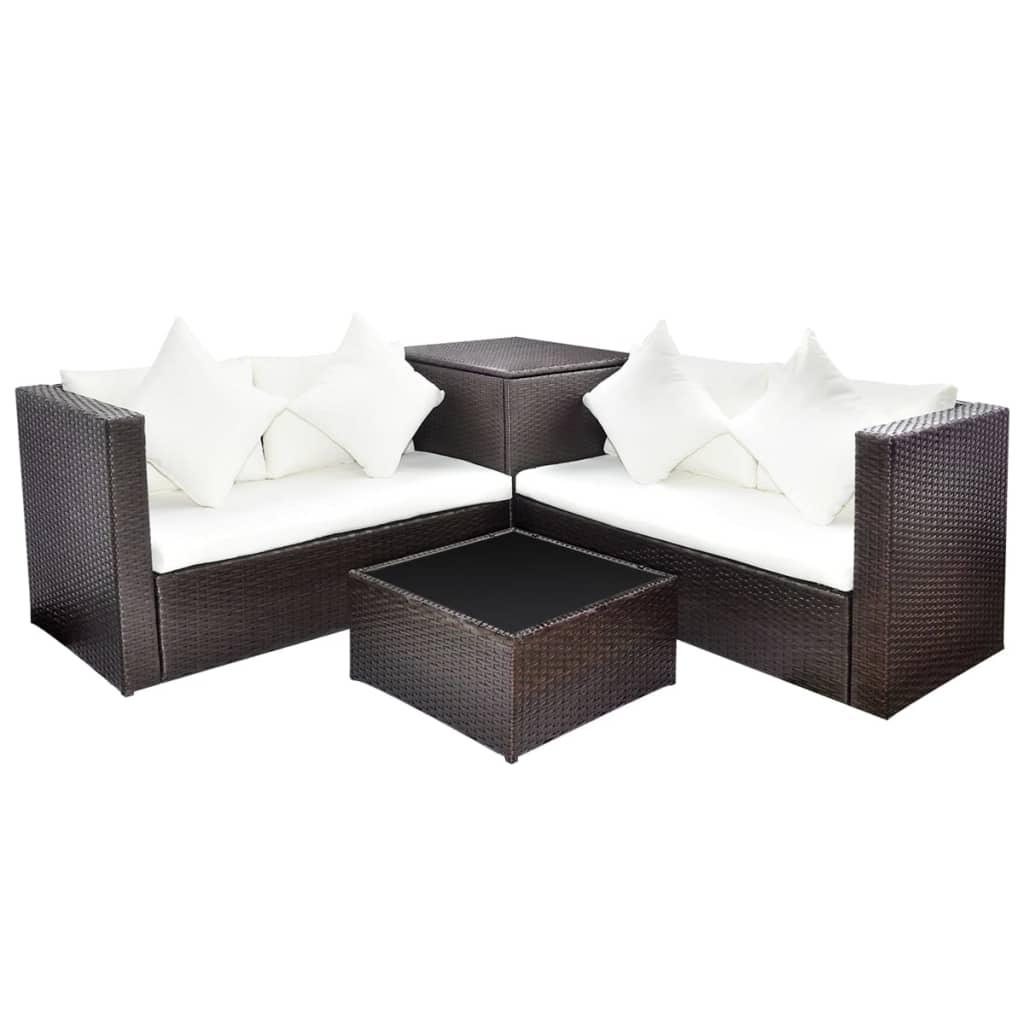 furniture corner pieces. 14 Pieces Rattan Outdoor Garden Corner Sofa Set Furniture With Storage Box Brown O