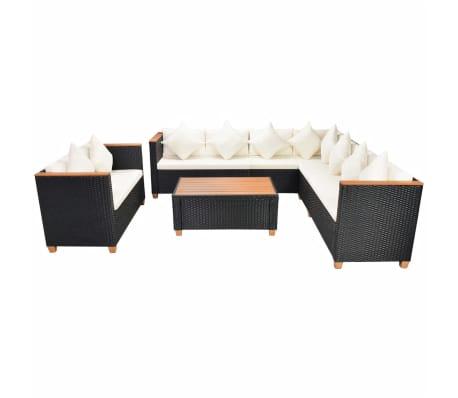 vidaXL 6-tlg. Garten-Lounge-Set mit Auflagen Poly Rattan Schwarz[2/11]