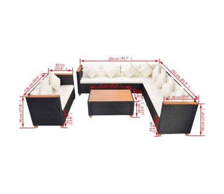 vidaXL 6-tlg. Garten-Lounge-Set mit Auflagen Poly Rattan Schwarz[11/11]