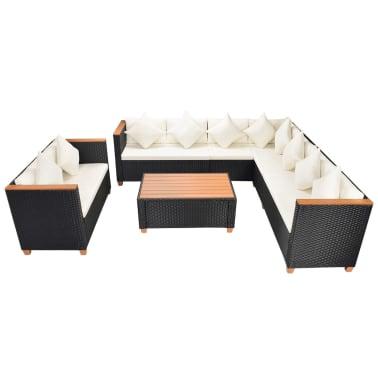 vidaXL 6-tlg. Garten-Lounge-Set mit Auflagen Poly Rattan Schwarz[3/11]