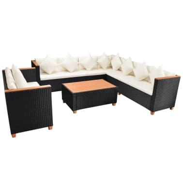 vidaXL 6-tlg. Garten-Lounge-Set mit Auflagen Poly Rattan Schwarz[4/11]
