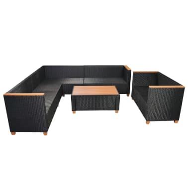 vidaXL 6-tlg. Garten-Lounge-Set mit Auflagen Poly Rattan Schwarz[6/11]