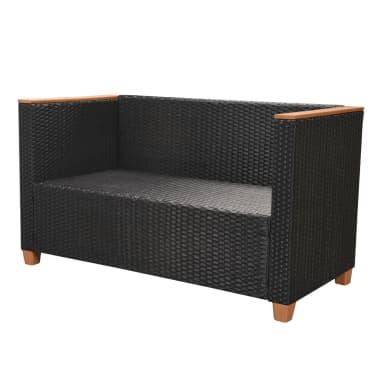 vidaXL 6-tlg. Garten-Lounge-Set mit Auflagen Poly Rattan Schwarz[8/11]