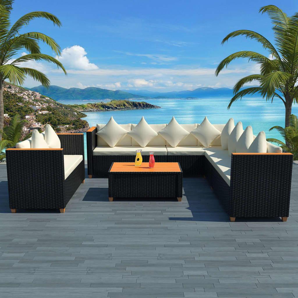 vidaXL Set mobilier de grădină cu perne, 6 piese, negru, poliratan poza 2021 vidaXL