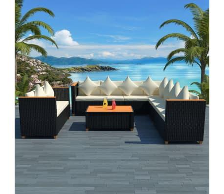 vidaXL 6-tlg. Garten-Lounge-Set mit Auflagen Poly Rattan Schwarz[1/11]