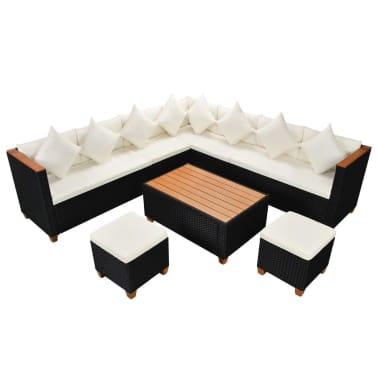 vidaXL 7-tlg. Garten-Lounge-Set mit Auflagen Poly Rattan Schwarz[2/11]