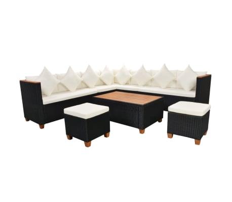 vidaXL 7-tlg. Garten-Lounge-Set mit Auflagen Poly Rattan Schwarz[3/11]