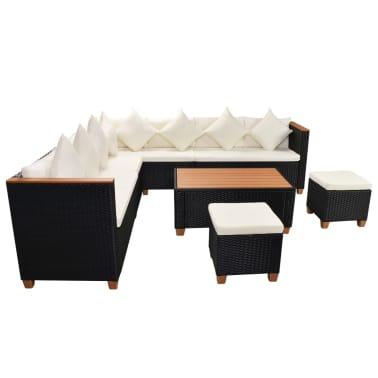 vidaXL 7-tlg. Garten-Lounge-Set mit Auflagen Poly Rattan Schwarz[4/11]
