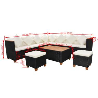 vidaXL 7-tlg. Garten-Lounge-Set mit Auflagen Poly Rattan Schwarz[11/11]