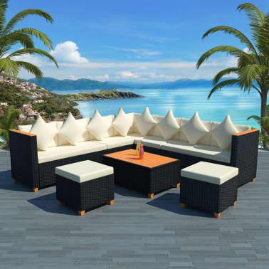 vidaXL 7-tlg. Garten-Lounge-Set mit Auflagen Poly Rattan Schwarz[1/11]