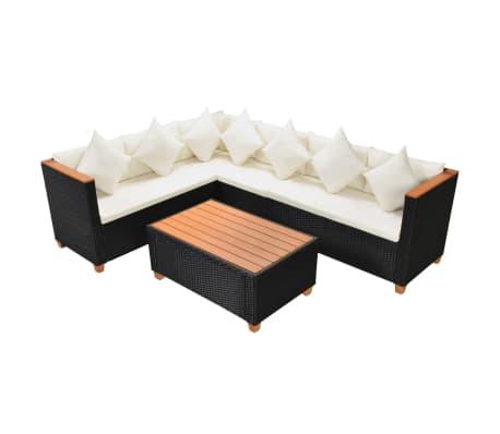 vidaXL 4 pcs conjunto lounge de jardim c/ almofadões vime PE preto