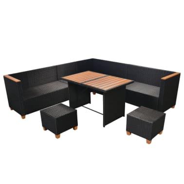 vidaXL 7-tlg. Garten-Lounge-Set mit Auflagen Poly Rattan Schwarz[5/11]