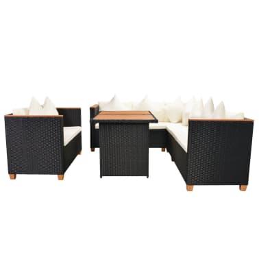 vidaXL Loungegrupp för trädgården med dynor 5 delar konstrotting svart[4/11]