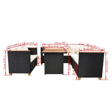 vidaXL Loungegrupp för trädgården med dynor 5 delar konstrotting svart[11/11]