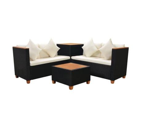 Vidaxl Garden Sofa Set 14 Pieces Poly Rattan Wpc Top Black 3 10