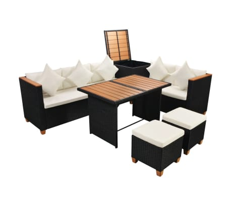 vidaXL 7 Piece Garden Lounge Set with Cushions Poly Rattan Black