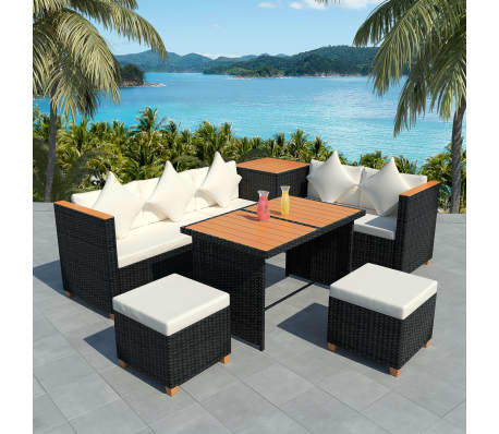 vidaxl poly rattan essgruppe 22 tlg polywood wpc schwarz. Black Bedroom Furniture Sets. Home Design Ideas
