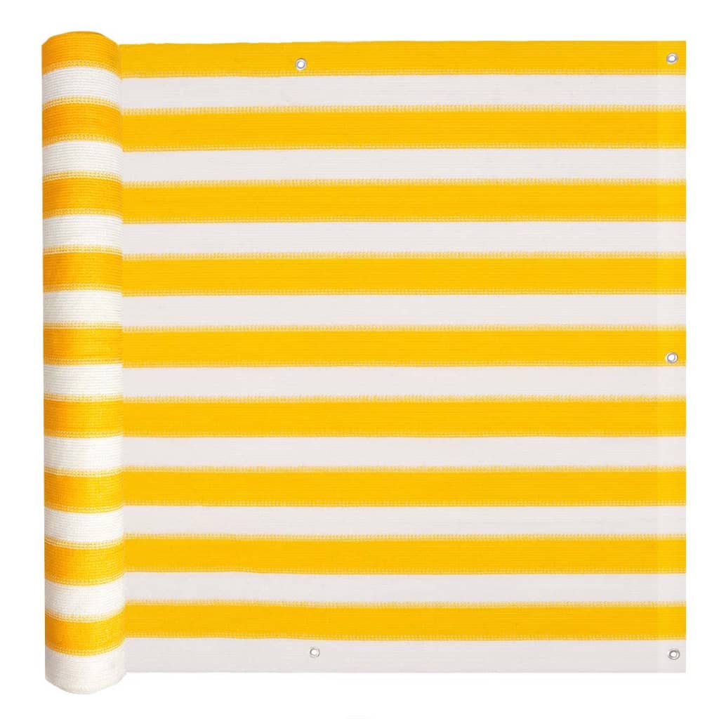 vidaXL Διαχωριστικό Βεράντας Κίτρινο και Λευκό 75 x 400 εκ. από HDPE