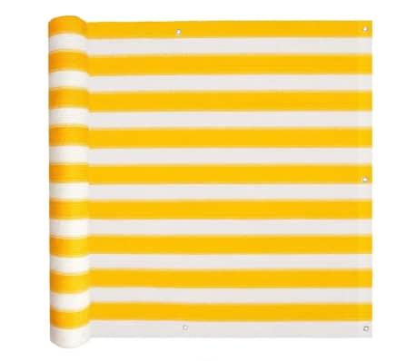 vidaXL Balkónová markíza z HDPE, 75x400 cm, žlto-biela