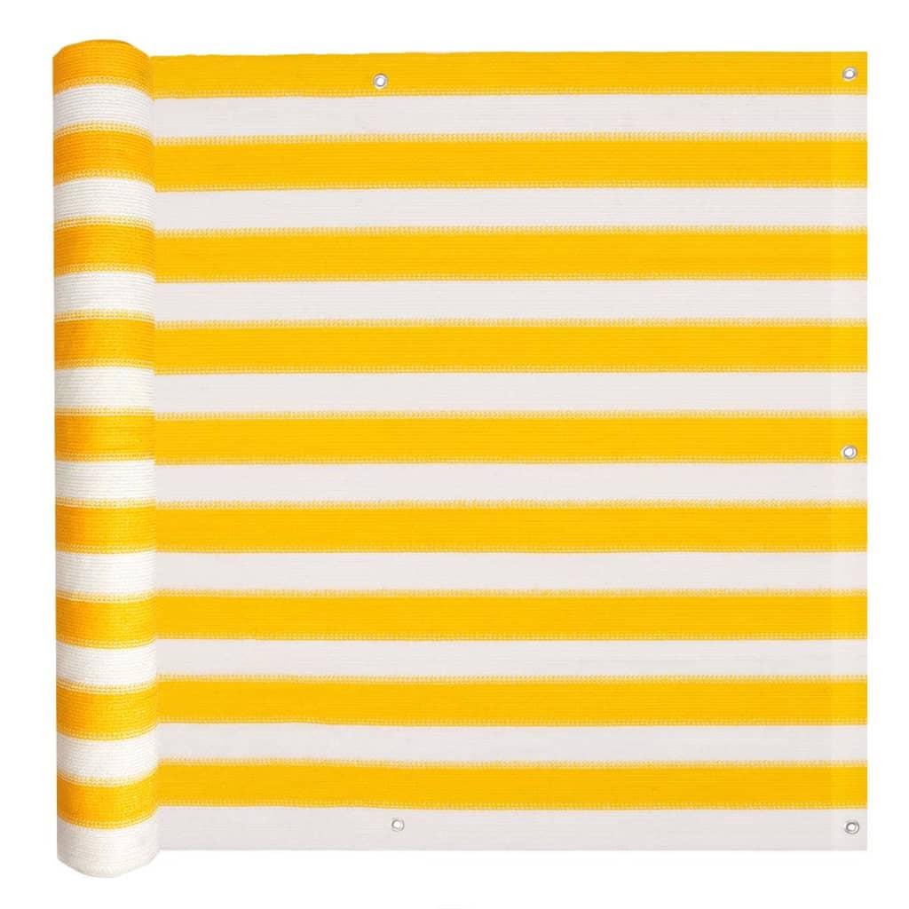 vidaXL Διαχωριστικό Βεράντας Κίτρινο και Λευκό 75 x 600 εκ. από HDPE