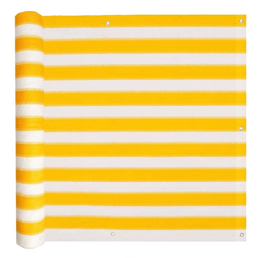 vidaXL Διαχωριστικό Βεράντας Κίτρινο και Λευκό 90 x 400 εκ. από HDPE