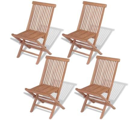 VidaXL Outdoor Folding Chairs 4 Pcs Solid Teak