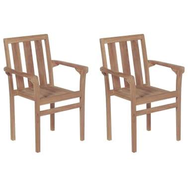 vidaXL Stackable Garden Chairs 2 pcs Solid Teak Wood[1/8]