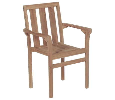 vidaXL Stackable Garden Chairs 2 pcs Solid Teak Wood[2/8]