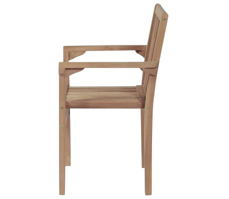 vidaXL Stackable Garden Chairs 2 pcs Solid Teak Wood[4/8]