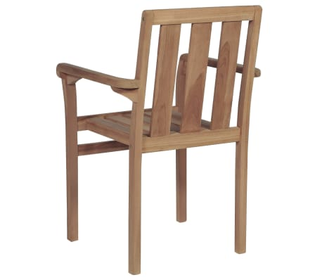 vidaXL Stackable Garden Chairs 2 pcs Solid Teak Wood[5/8]
