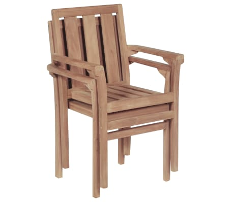 vidaXL Stackable Garden Chairs 2 pcs Solid Teak Wood[6/8]