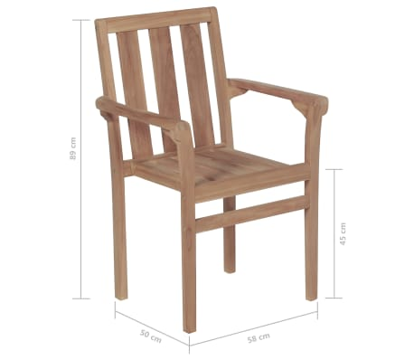 vidaXL Stackable Garden Chairs 2 pcs Solid Teak Wood[8/8]