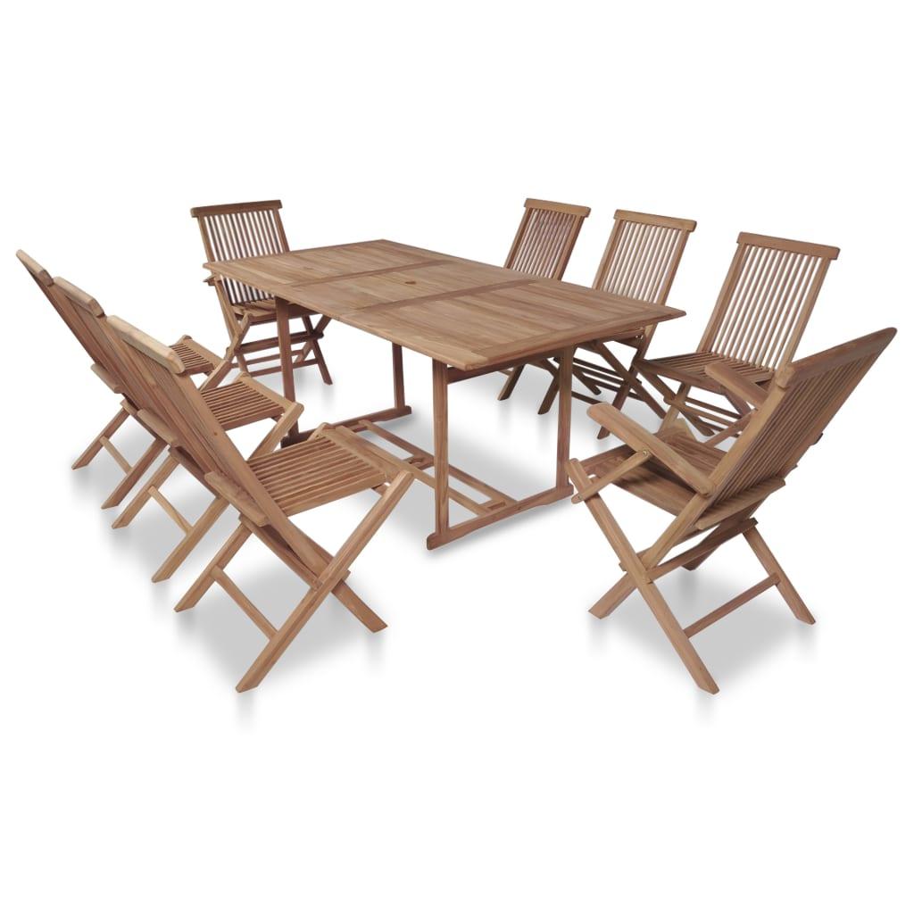 vidaXL Set mobilier exterior cu scaune pliabile, 9 piese, lemn de tec poza vidaxl.ro