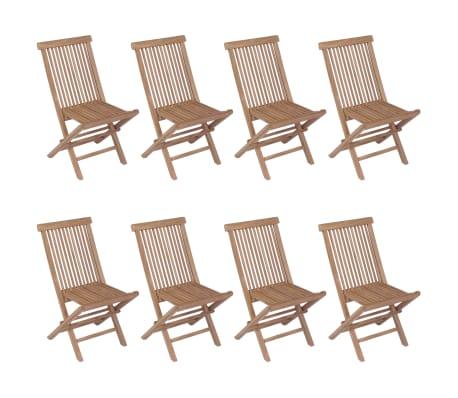 vidaXL Meuble à dîner de jardin 9 pcs et chaises pliables Teck solide[5/16]