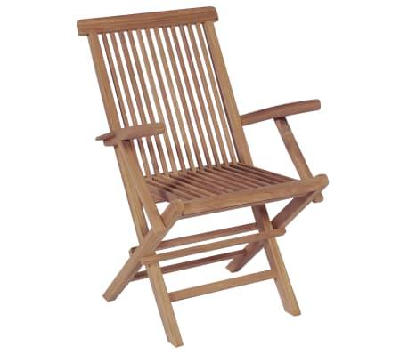 vidaXL Meuble à dîner de jardin 9 pcs et chaises pliables Teck solide[6/16]