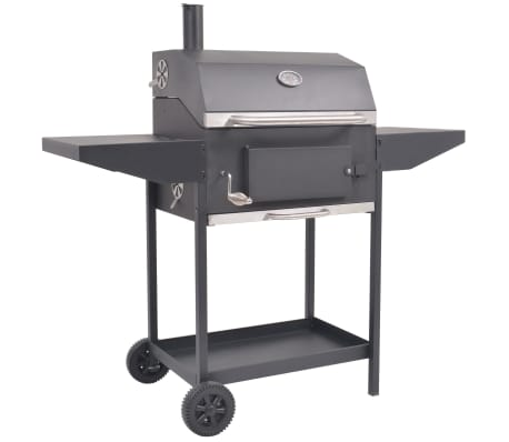 vidaXL BBQ Charcoal Smoker with Bottom Shelf Black
