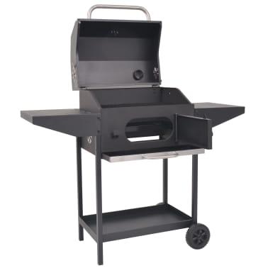 vidaXL Barbacoa Ahumador al carbón con estante inferior negro[2/6]