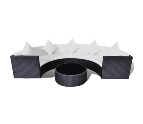 vidaXL 6 Piece Garden Lounge Set with Cushions Poly Rattan Black