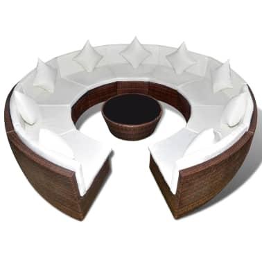vidaXL dārza dīvānu komplekts, 37 gab., brūns PE rotangpalmas pinums[2/5]