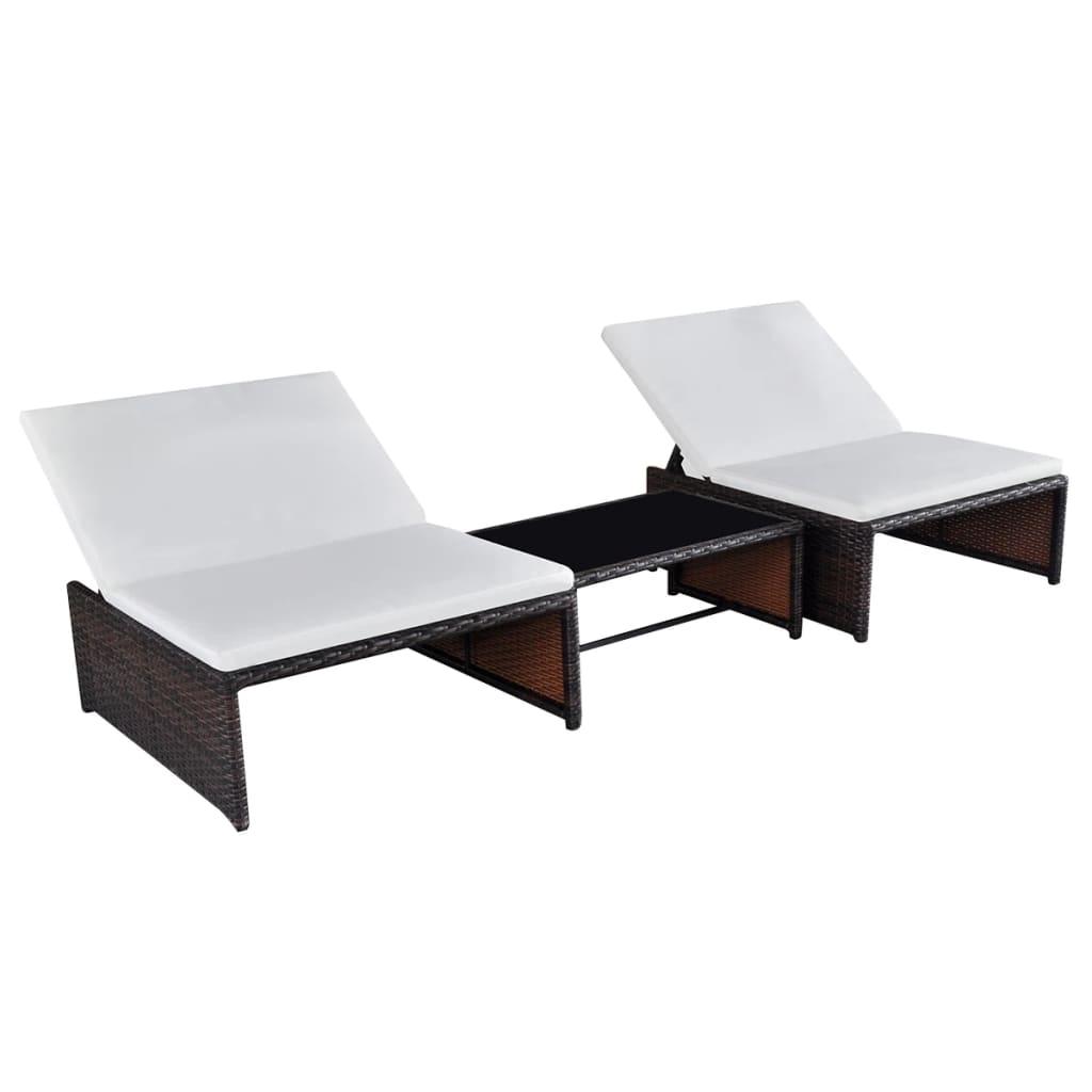 vidaXL Lounge set 2-zits bruin poly rattan