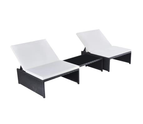 vidaXL sauļošanās zviļņi, 2 gab., ar galdiņu, melna PE rotangpalma