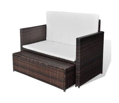 vidaXL Garden Sofa Poly Rattan Brown[4/7]