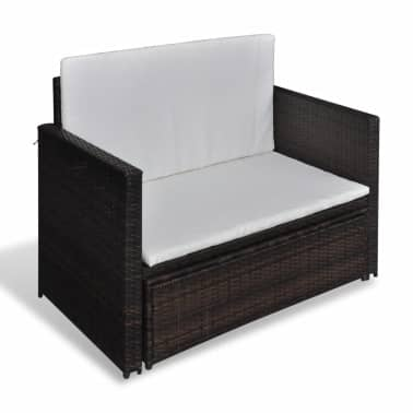 vidaXL Garden Sofa Poly Rattan Brown[5/7]