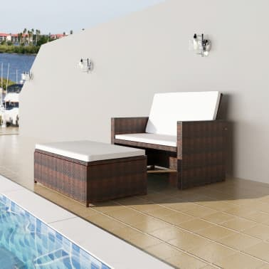 vidaXL Garden Sofa Poly Rattan Brown[1/7]
