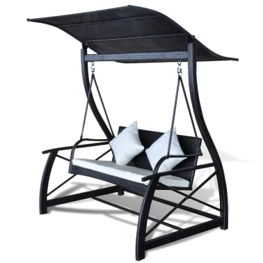 "vidaXL Garden Swing Chair Poly Rattan Black 65.7""x51.2""x70""[2/8]"